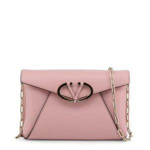 Valentino Pink Leather Clutch Crossbody Bag